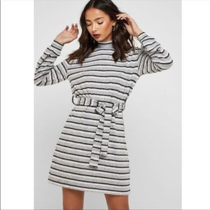 Topshop Striped belted sweater mini dress/8